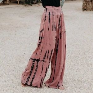 MAUVE AND BLACK TIE DIE PANTS